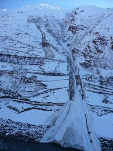 Lawine auf der afghanischen Seite des Pandsch