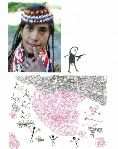 Zeichnung einer Kalasha und ihres Sohnes 1991 - copyright Karl Wutt